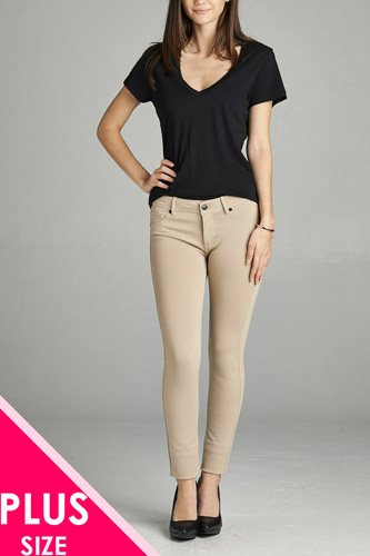 Ladies fashion plus size 5-pockets shape skinny ponte pants-id.CC34318j