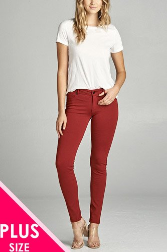 Ladies fashion plus size 5-pockets shape skinny ponte pants-id.CC34318r