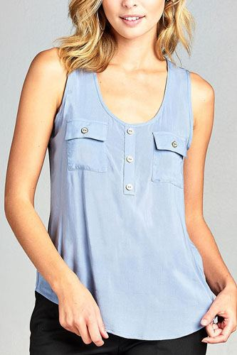Ladies fashion woven tank top w/ front double pockets & button detail-id.CC34329d