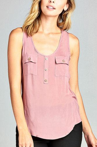 Ladies fashion woven tank top w/ front double pockets & button detail-id.CC34329g