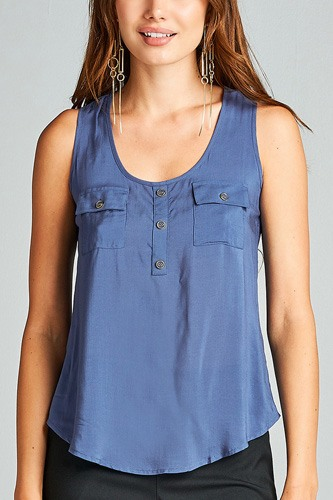 Ladies fashion woven tank top w/ front double pockets & button detail-id.CC34329i