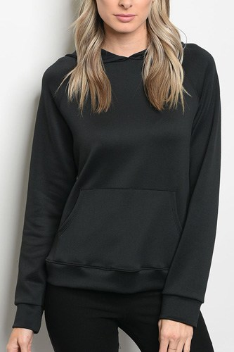 Ladies fashion long sleeve pullover hoodie that features a sheen and kangaroo pocket detail-id.CC34333