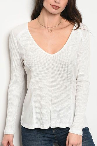 Ladies fashion long sleeve relaxed fit thermal top that features a v neckline-id.CC34362a