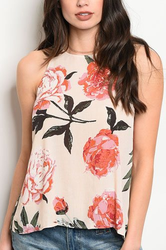 Ladies fashion sleeveless floral print top that features a rounded neckline-id.CC34364