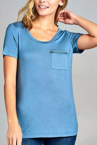 Ladies fashion short sleeve round neck zippered pocket top-id.CC34384b