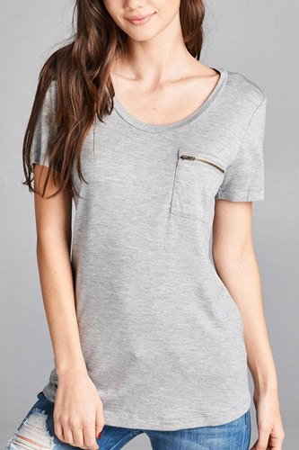 Ladies fashion short sleeve round neck zippered pocket top-id.CC34384d