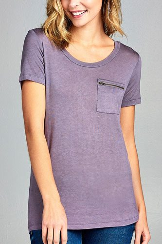 Ladies fashion short sleeve round neck zippered pocket top-id.CC34384e