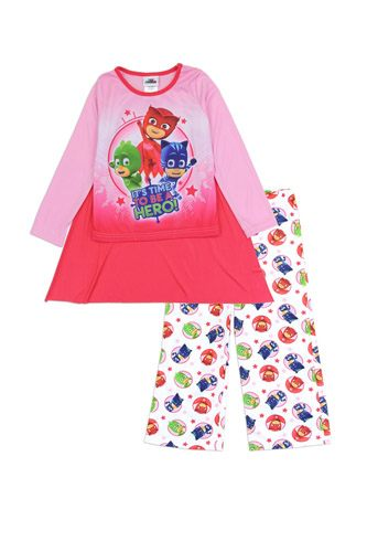 Girls pj masks 4-8 2pc pajama set w/ cape-id.CC34396