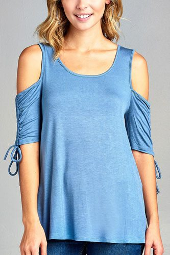 Ladies fashion cold shoulder w/seeve bow tie round neck rayon spandex top-id.CC34423a