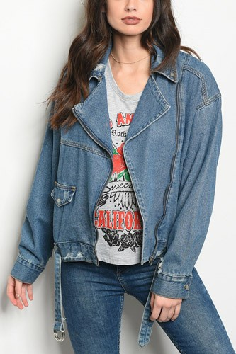 Ladies fashion moto style denim jacket that features a distressed detailed back and relaxed collar-id.CC34426