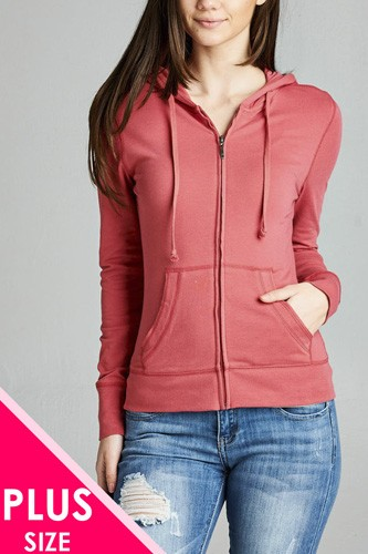 Ladies fashion plus size full zip-up closure hoodie w/long sleeves and lined drawstring hood-id.CC34447a