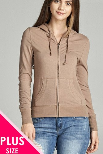 Ladies fashion plus size full zip-up closure hoodie w/long sleeves and lined drawstring hood-id.CC34447e