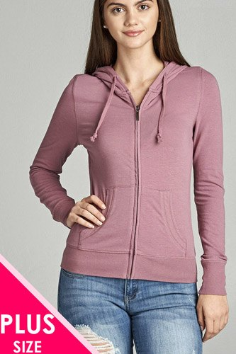 Ladies fashion plus size full zip-up closure hoodie w/long sleeves and lined drawstring hood-id.CC34447h