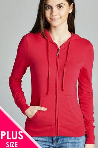 Ladies fashion plus size full zip-up closure hoodie w/long sleeves and lined drawstring hood-id.CC34447i