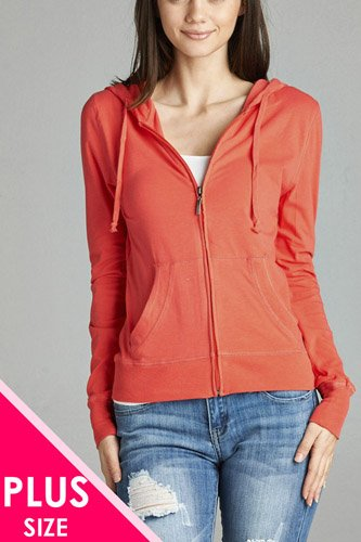 Ladies fashion plus size full zip-up closure hoodie w/long sleeves and lined drawstring hood-id.CC34447j