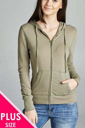 Ladies fashion plus size full zip-up closure hoodie w/long sleeves and lined drawstring hood-id.CC34447k