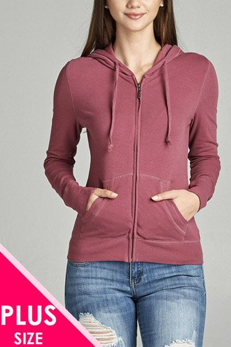 Ladies fashion plus size full zip-up closure hoodie w/long sleeves and lined drawstring hood-id.CC34447l