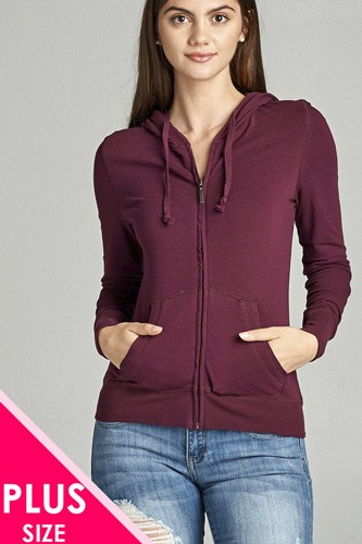 Ladies fashion plus size full zip-up closure hoodie w/long sleeves and lined drawstring hood-id.CC34447o