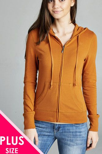 Ladies fashion plus size full zip-up closure hoodie w/long sleeves and lined drawstring hood-id.CC34447q