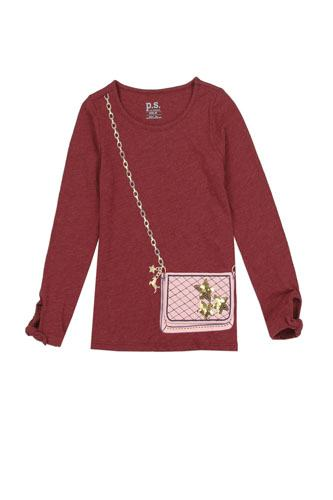 Girls AÉROPOSTALE 4-6x long sleeve fashion top with 3d flap purse pocket-id.CC34457
