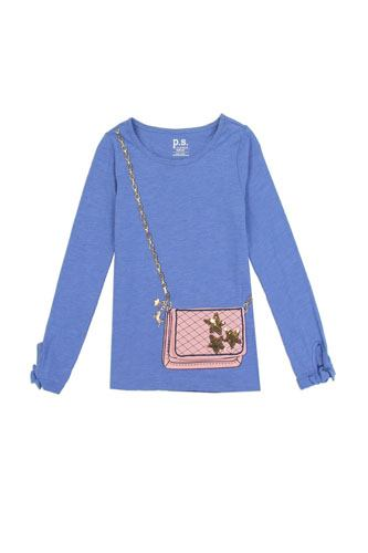 Girls AÉROPOSTALE 7-14 long sleeve fashion top with 3d flap purse pocket-id.CC34459