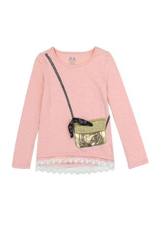 Girls AÉROPOSTALE 7-14 long sleeve fashion top with 3d flap purse pocket-id.CC34461