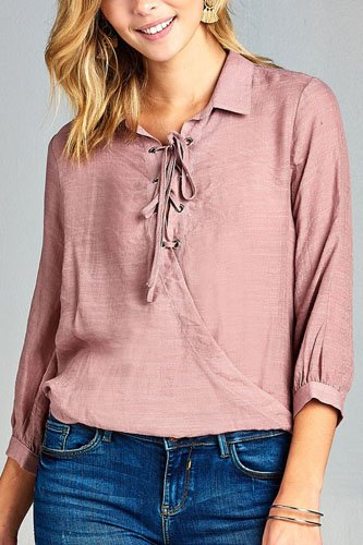 Ladies fashion 3/4 sleeve shirt collar w/lace detail surplice slub gauze woven top-id.CC34480a