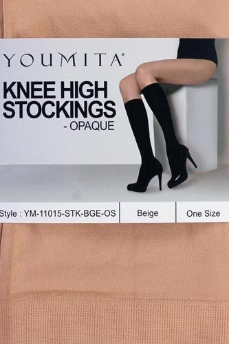Ladies knee high opaque non-run stockings for everyday use-id.CC34500