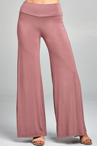 Ladies fashion waist band flared leg rayon spandex jersey long pants-id.CC34509