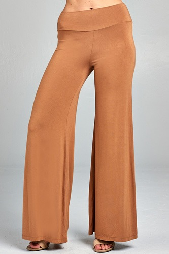 Ladies fashion waist band flared leg rayon spandex jersey long pants-id.CC34509B