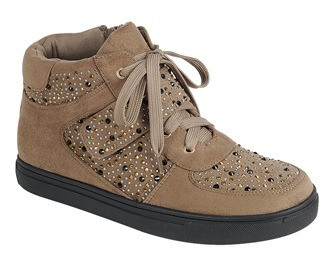 Ladies fashion street style, mixed material high top sneaker, closed round toe, flat heel, lace up closure,rhinestone-adorned upper-id.CC34516
