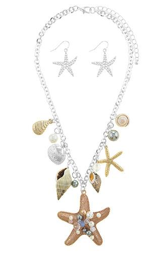 Oversize starfish station necklace set-id.CC34523