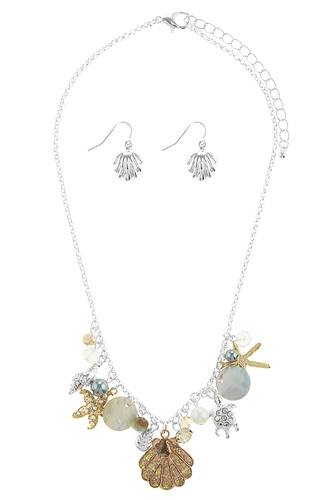 Oversize starfish station necklace set-id.CC34524