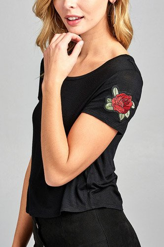 Ladies fashion short sleeve round neck w/floral patched crop rayon spandex top-id.CC34534