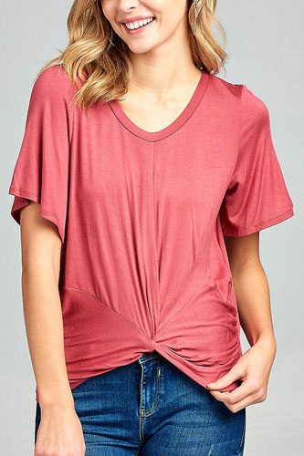 Ladies fashion short sleeve round neck front twisted rayon spandex top-id.CC34535d