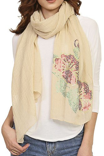 Ladies fashion sequined flower pattern scarf-id.CC34539