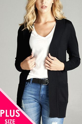 Ladies fashion plus size long sleeve rib banded open sweater cardigan w/pockets-id.34548a