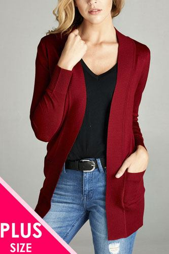 Ladies fashion plus size long sleeve rib banded open sweater cardigan w/pockets-id.34548g