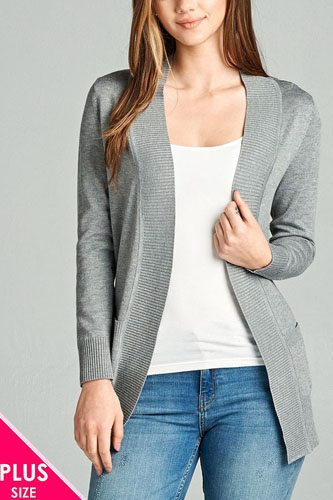 Ladies fashion plus size long sleeve rib banded open sweater cardigan w/pockets-id.CC34548j