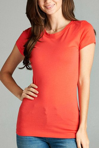 Ladies fashion short sleeve crew neck tee w/ contrast neck inbinding-id.CC34558e