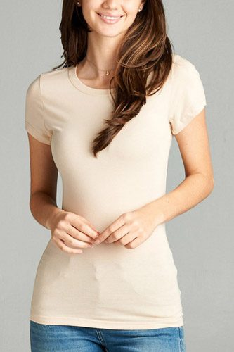 Ladies fashion short sleeve crew neck tee w/ contrast neck inbinding-id.CC34558ee
