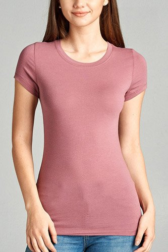 Ladies fashion short sleeve crew neck tee w/ contrast neck inbinding-id.CC34558l