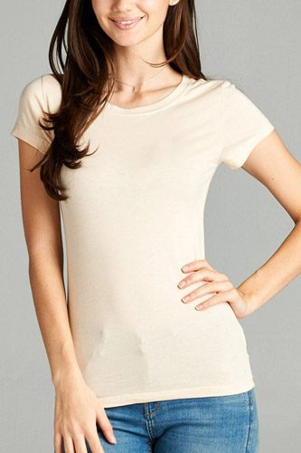 Ladies fashion short sleeve crew neck tee w/ contrast neck inbinding-id.CC34558ll