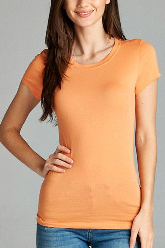Ladies fashion short sleeve crew neck tee w/ contrast neck inbinding-id.CC34558t