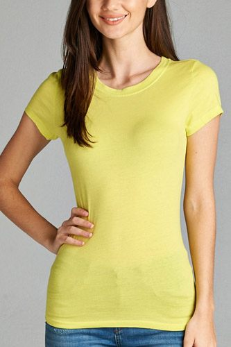 Ladies fashion short sleeve crew neck tee w/ contrast neck inbinding-id.CC34558v
