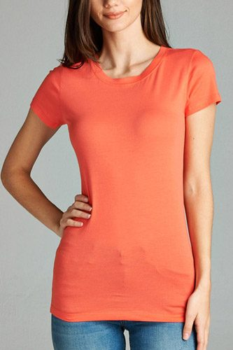 Ladies fashion short sleeve crew neck tee w/ contrast neck inbinding-id.CC34558z