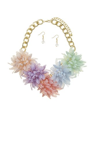 Acrylic flower statement necklace set-id.CC34562