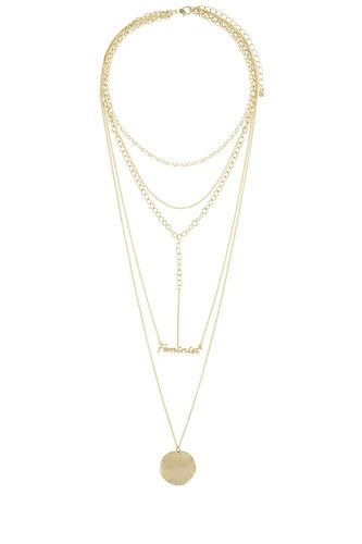 Feminist lettered multi layer geometric necklace-id.CC34568