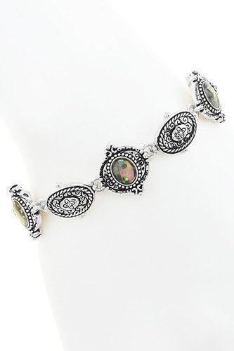 Rope outlined abalone shell disk station bracelet-id.CC34575