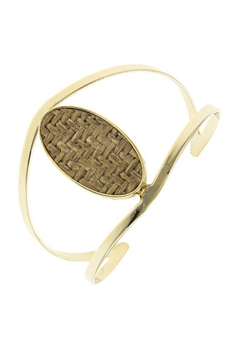 Zig zag patterned oval open cuff bracelet-id.CC34579